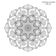 Download Coloring Book For Adult And Older Children Page With Mandala Made Of Decorative Vintage