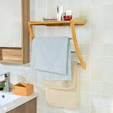 sobuy wandregal handtuchregal handtuchhalter badregal aus bambus frg47 n