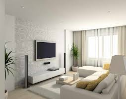 Top Modern Interior Designers With Contemporary Living Room Beautiful Wallpaper Pattern And Large LCD TV Feat White Sectional Design For