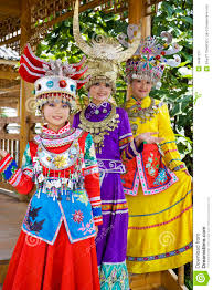 chinese ethnic girls in traditional dress stock image image