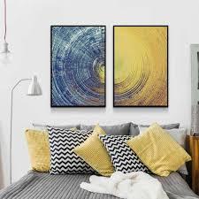 abstrakte blau erfüllt gelb kreis wand kunst leinwand gemälde poster und drucke bilder für schlafzimmer wohnzimmer dekoration