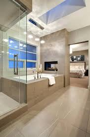 Marble Flooring Designs For Bedroom Luxurious Master Bathroom With And Partition Mini Fireplace