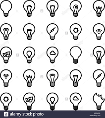 variety type of light bulb in different detail inside vector