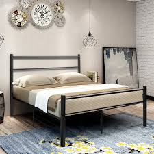 Coavas Double Bed Frame 4ft 6 Solid Bed Frame With 2 Headboard Metal