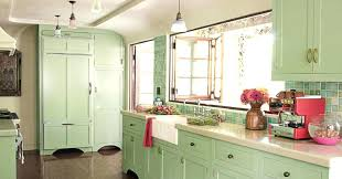 Shabby Chic Kitchen Decor And Mint Green Cabinet For Ideas With White