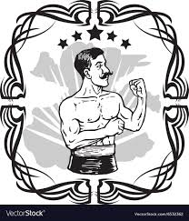 Vintage Boxer Tattoo Vector Image