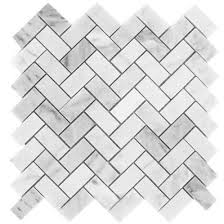 bianco white carrara marble 1x2 herringbone pattern honed mosaic tile