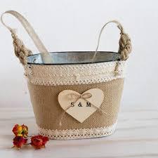 Rustic Flower Girl Basket Wedding Personalized Tin Bucket Bridal Burlap