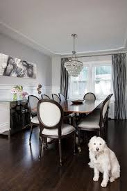 Stunning Transitional Traditional Chairs Diningroom Features Horizontal Wall Art Paired Geometric Fabric Ceiling Detail And Gray Curtain