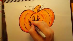 Free Online Books About Pumpkins by How To Draw A Pumpkin Free Hand Kids Drawing Fun Made Easy Youtube