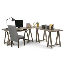 Walker Edison 3 Piece Contemporary Desk Multi by Simpli Home Sawhorse Distressed Grey Desk 3axcsaw 10 Gr The Home