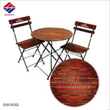 Custom Printed Folding Wood & Iron Steel Table And Folding Chair Outdoor  Bistro Set For Cafe Beer Restaurant Commerical Dinning - Buy Iron Steel ...