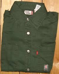 levi u0027s men u0027s l s classic denim work shirt nwt green black s m l xl