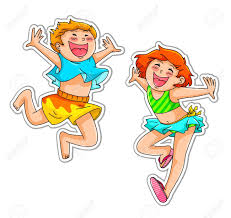 Two Very Happy Kids Wearing Swimsuits Or Summer Clothes Stock Vector
