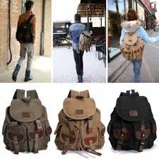 vintage sac à dos de sac à dos pour hommes cuir de toile