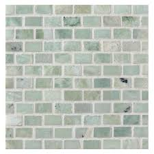 mini brick mosaic tile polished ming green marble