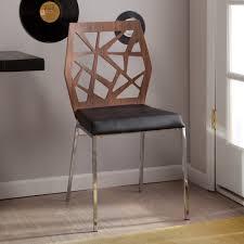 100 Black Leather Side Dining Chairs Extraordinary Walnut Stylized Cutouts Wood Back Padded