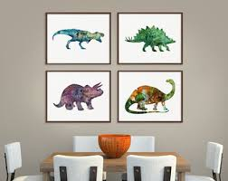 Dinosaur Art Print Set Of 4 Prints Poster Wall Decor