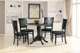 details zu dinette dining table set wooden seat chair black finish