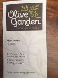 The Visiting Card with full address Picture of Olive Garden