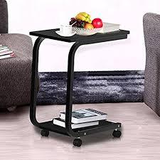 Sofa Snack Table Walmart by Amazon Com Yaheetech 2 Tier U Shaped Black Sofa Snack Table Tray