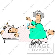 Clip Art Graphic of a Nurse Trying to Get a Sick Male Patient to