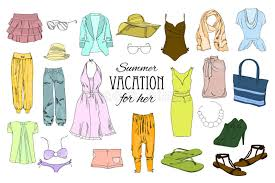 Download Summer Travel Packing For Vacation Woman Clothing Set Vector Hand Drawn Isolated Objects