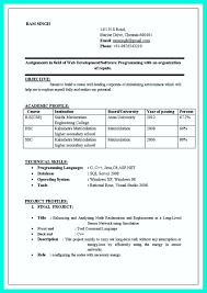 Resume Format For Computer Science Engineering Students Freshers Doc
