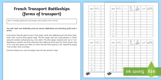 Transport Battleships French Board Game