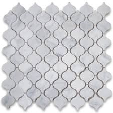 carrara white mini lantern shaped mosaic tile honed marble from