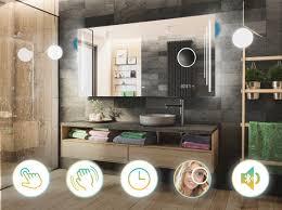 spiegel touch uhr schalter l27 badspiegel mit led