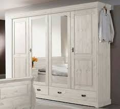 massivholz kleiderschrank weiß 4türig kiefer landhaus stil