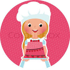 Stock vector illustration of a girl holding a cake baker Stock Vector