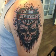 Harley Davidson Skull Tattoo On Bicep