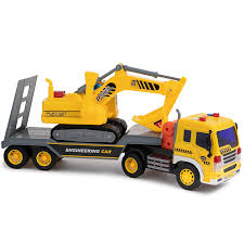 100 Truck Flatbed Toy To Enjoy Trailer With Excavator Tractor Friction Powered Wheels Four Light Sound Effects Heavy Duty Plastic Construction
