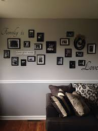 photo collage on two tone gray wall with chair rail future