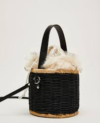 raffia crossbody bag with faux fur interior handbags bags woman