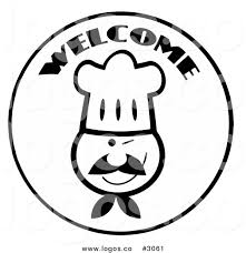 Royalty Free Vector of a Wel e Black and White Chef Logo