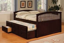 Full Size Trundle Bed With Storage Brown — Modern Storage Twin Bed