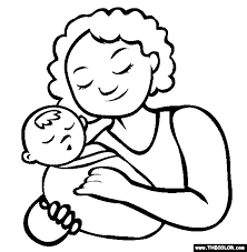 First Mothers Day Online Coloring Page