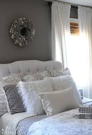 These Fluffy White Pillows From HomeGoods Added Such A Fun And Cozy Touch To Our Winter Wonderland Themed Gray Guest Bedroom Make Welcoming Feel For