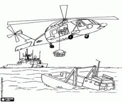 Rescue Helicopter At Sea Light Over The Forest Coloring Page