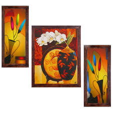 Ray Decors Framed Reprint Modern Wall Art Paintings With Textured Work SET503 Decor Hangings Decals Home Gift Items