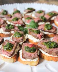 beef canape recipes beef tenderloin crostini with goat cheese and pesto