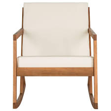 Safavieh Vernon Teak Brown Outdoor Patio Rocking Chair With Beige Cushion