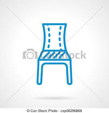 Blue Chair Line Vector Icon
