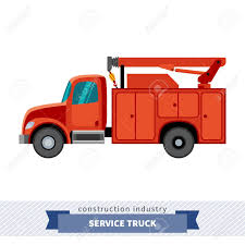 100 Service Truck Crane Side View Isolated Vector Illustration Royalty