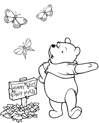 Pooh And Butterflies Picture To Colour Print Friendly
