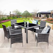 Amazon.com: Wisteria Lane 7 Piece Patio Wicker Dining Set, Outdoor ... Art Fniture Inc Saint Germain 7piece Double Pedestal Ding Laurel Foundry Modern Farmhouse Isabell 7 Piece Solid Wood Maracay Set Rectangular Ding Table 6 Chairs Vendor 5349 Lawson 116cd7gts Trestle Gathering Table With Hampton Bay Covina Alinum Outdoor Setasj2523nr Torence 7piece Counter Height 7pc I Shop Now Mangohome Liberty Lucca Formal Two And Hanover Rectangular Tiletop Monaco Splat Back Chairs By Grayson Ash Gray Wicker Round