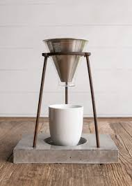 Handmade Concrete Modern Pour Over Coffee Stand For Mamas Via Childhoods The Blog By Fleur Dot Fashion Fun Design Style Food DIY